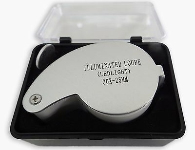 Gift Idea 30X 25mm Illuminated LED Loupe Jeweler Magnifier Magnifying Glass Lens