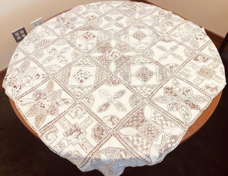 """Antique VTG Fine Lace Ecru Tablecloth 41"""" X 42"""" Exquisite"""