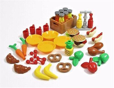 NEW LEGO Food Lot BBQ Picnic Burger Hot Dog Drumsticks Pretzels Fruit Cups   4E3