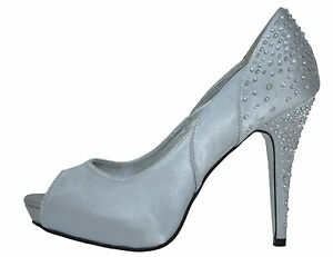 high heel silver satin diamante wedding bridal prom shoes