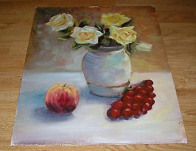 SUMMER GRANDIFLORA WHITE YELLOW ROSES APPLE CANADICE GRAPES STILL LIFE  PAINTING