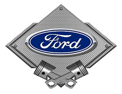 12' Oval Metal Diamond - Ford Blue Oval Silver Carbon Diamond Metal Art Wall Sign - Ford Licensed