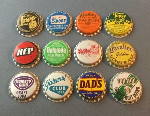 12 Vintage cork lined soda bottle caps Collins' Lemmy, Topsy, Bon-Ton, S'more,