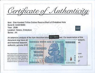 Zimbabwe 100 Trillion Dollars Banknote Note Bill 2008AA UNC authenticity COA