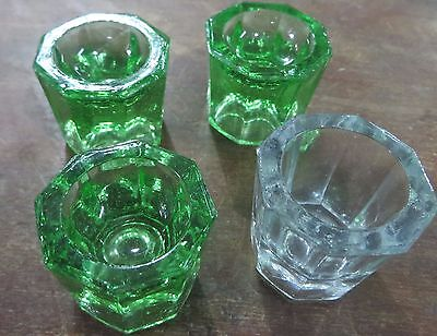 Multipuropse Vintage Glass holders for Candle Egg Lowcost 4 pcs 3 green 1 white