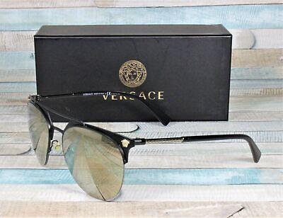 VERSACE VE2181 12615A Matte Black Light Brown Mirror Gold 57 mm Men's Sunglasses