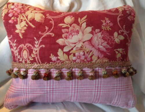 Delightful Antique French Fabric Pillow Silk Passementerie Trim Pink Linen Check