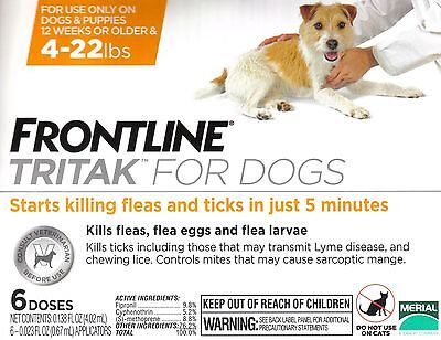 Frontline Tritak Flea Lice Tick Remedy for Dogs 4-22 lbs 6 Month Dose