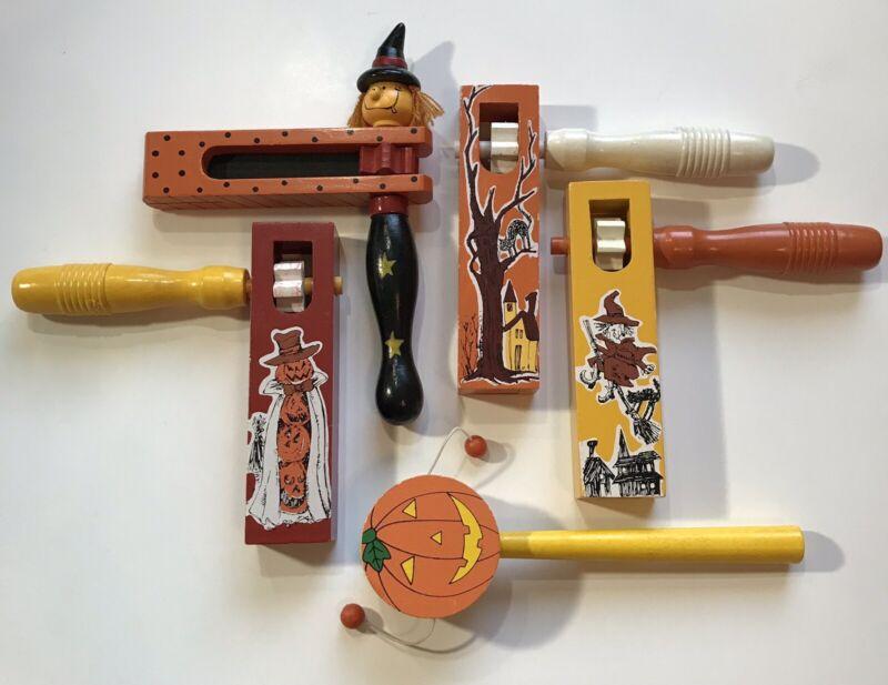 4 Wooden Ratchet-Style Halloween Noisemakers with Bonus Pumpkin  Vintage Style