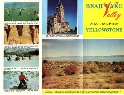 Bear Lake Valley En Route To & From Yellowstone Park Vtg Brochure Photos Map