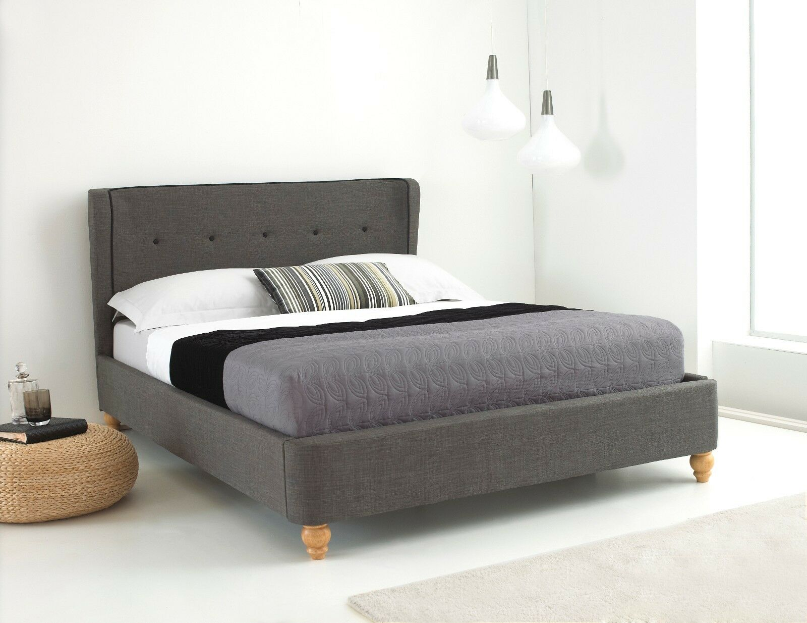 Orleans Fabric Bed Frame Wingback Padded Headboard Buttoned Grey