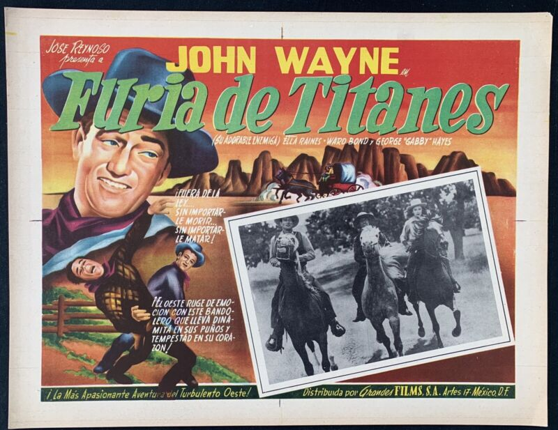JOHN WAYNE Tall in the Saddle GEORGE GABBY HAYES (3) MEXICAN LOBBY CARDS