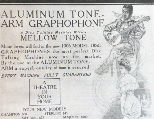 Nov.1905 Aluminum Tone-Arm Disc GRAPHOPHONE Columbia Phonograph Vtg Art Print Ad