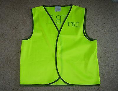 Diy Men Costume (Customized DIY FBI Special Agent Vest Waistcoat L Fancy Dress Costume)