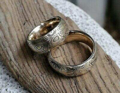 Trauringe Mokume Gane Gold 750 gelb rose und weiß Silber 925 Wurzelholzmaserung (Rose Gold Und Weißgold Ringe)