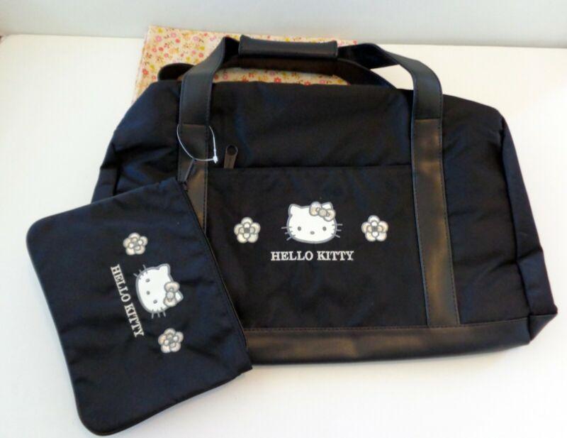Sanrio 2002 Hello Kitty Black Vinyl Nylon Boston Bag w/ Cosmetic Pouch NIP