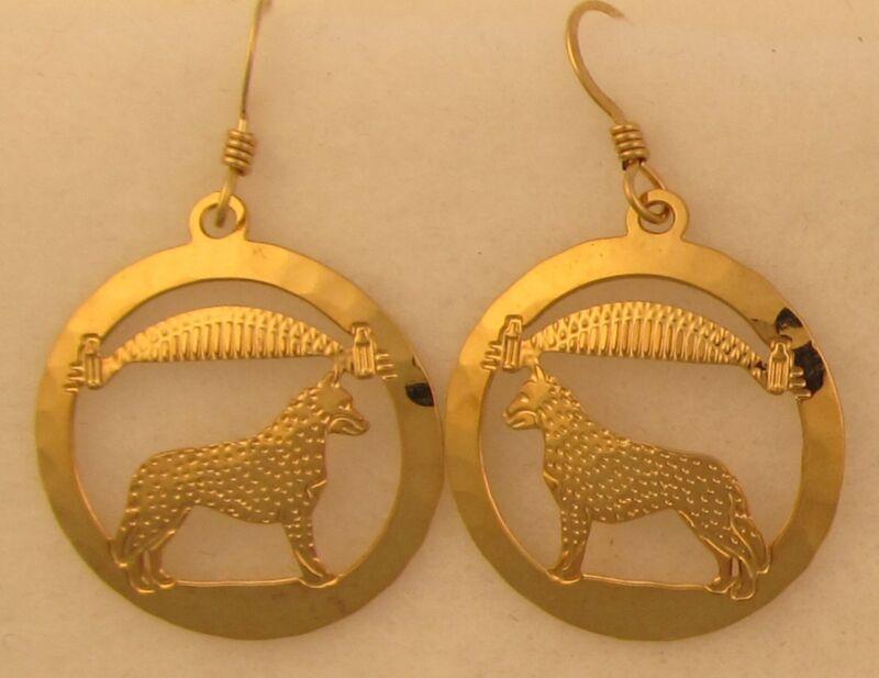 Australian Cattle Dog  Jewelry Gold Dangle Earrings