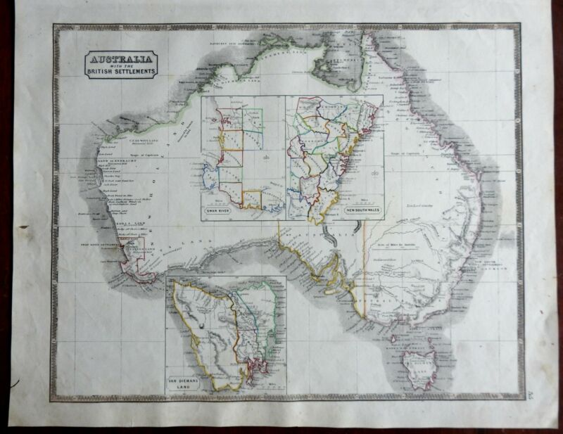 Australia British Colonies New South Wales Swan River Tasmania 1846 scarce map