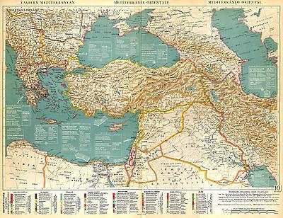 Big Size Physical Map Card Atlas 1950: East Mediterranean Sea Mediterranean Mer