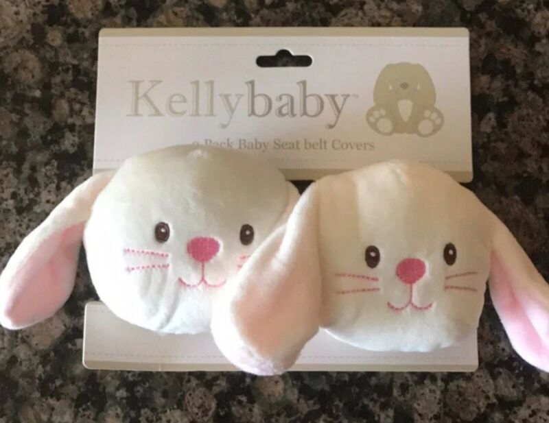 2 Pack Kelly Baby Plush Bunny Baby Infant Car Seat Belt Covers, Pink & White New