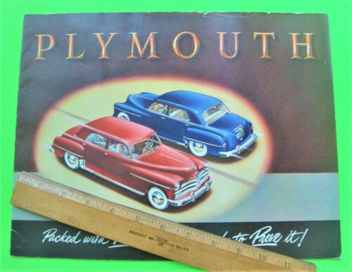 rare 1950 PLYMOUTH HUGE PRESTIGE BROCHURE 20-pgs WOODIE WAGON Convertible XLNT