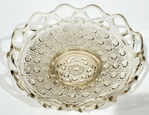 """Imperial Depression Glass BUTTON & CANE LACED EDGE CLEAR Shallow Nappy Bowl 6"""""""