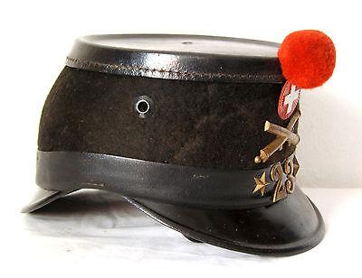 Original Tschako, Shako Hat Kokarde Pompon, Landwehr, Artillerie, Schweiz, 1912.