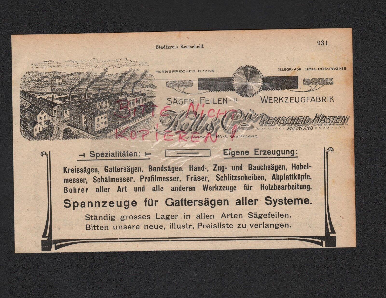 REMSCHEID-HASTEN, Werbung 1909, Koll & Cie. Spannzeuge Gattersägen