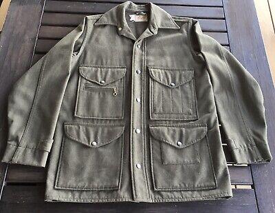 1940s Men's Shirts, Sweaters, Vests Vintage 1940s Wool Hunting Fishing Outdoors Shirt Jacket - Khaki - Medium $70.00 AT vintagedancer.com