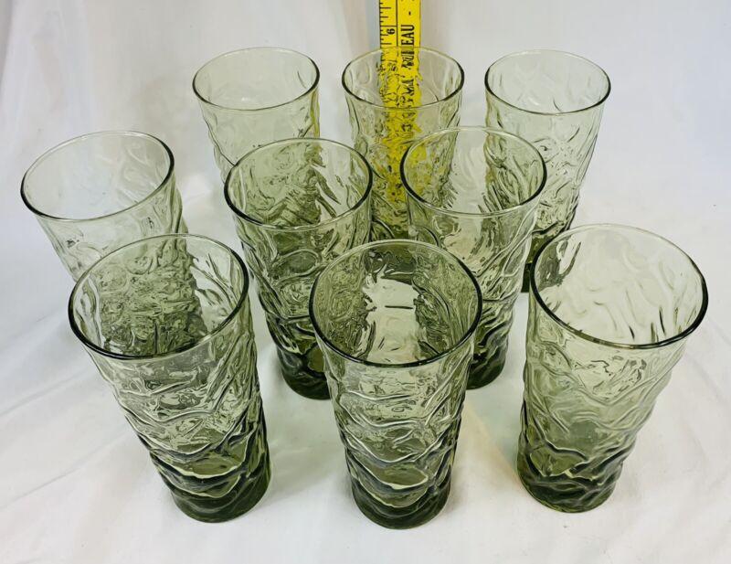 "Lot of 9 Vtg Anchor Hocking Avocado Green Crinkle Glass Tumblers 6.5"""