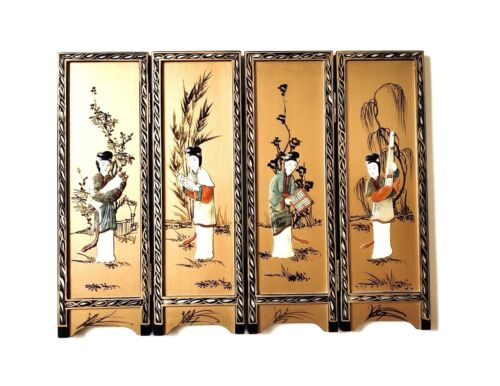 """Vintage 14"""" JAPANESE SCREEN Hand-Painted Mother-of-Pearl Lacquered Wood Panels"""