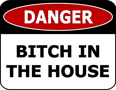 Danger Bitch In The House Laminated Funny Sign sp1165