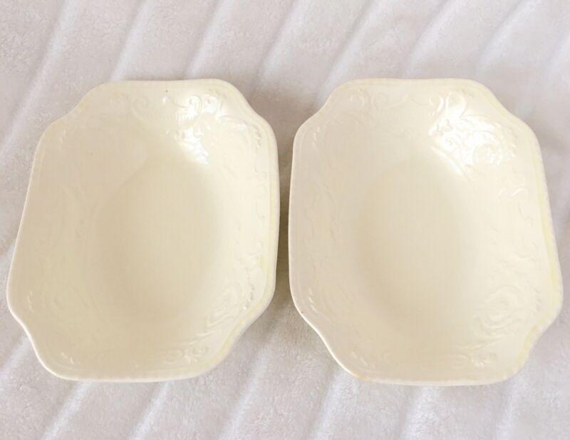 Adam Antique Steubenville Bowls Set Of 2 Matching Cream Relief Great Condition