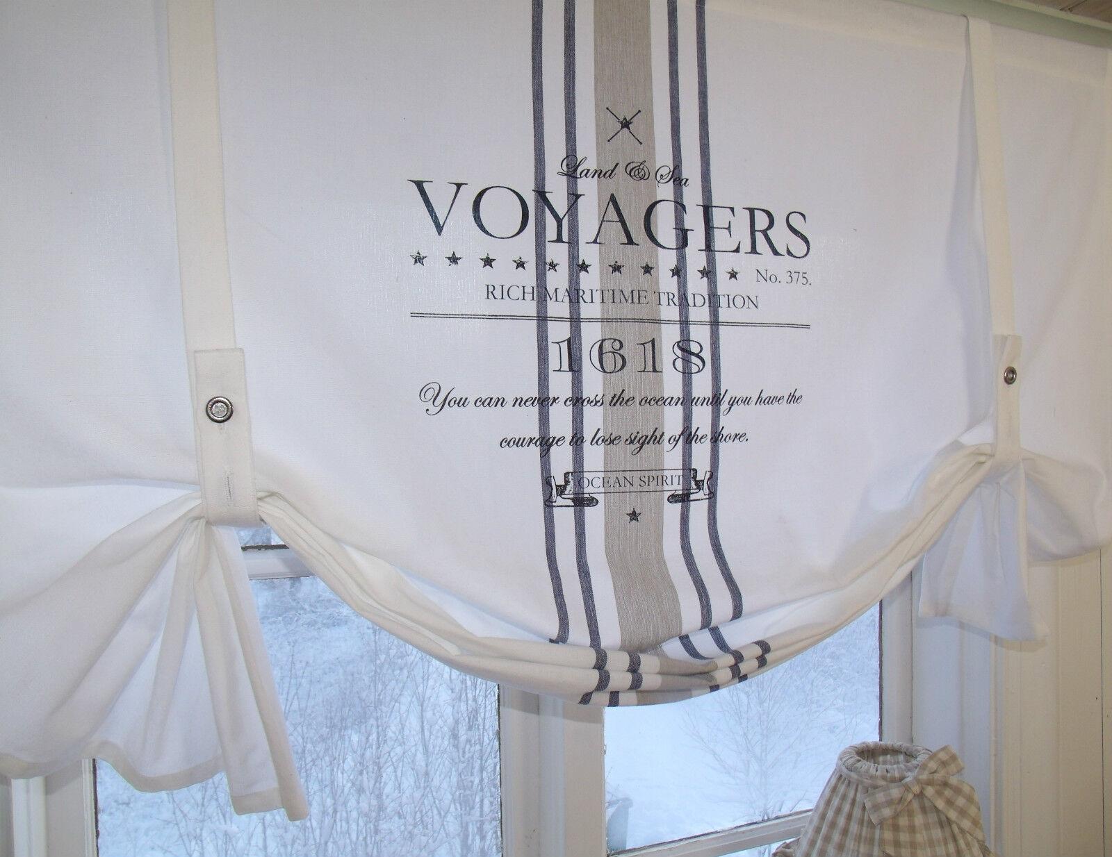 lillabelle ocean gardine raffrollo 160 x100 wei shabby vintage landhaus curtain eur 47 95. Black Bedroom Furniture Sets. Home Design Ideas