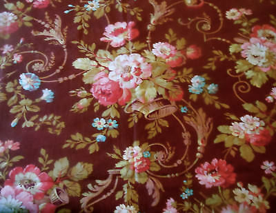 - Antique French Basket Roses Floral Scroll Cotton Fabric~ Raisin Pink Turquoise