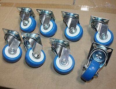Lot 100pc 2 Caster Wheels Swivel Plate Blue Polyurethane Wheel Pu Steel Bearing