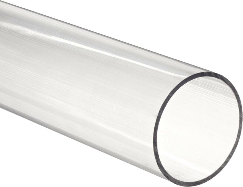 "Clear acrylic Plexiglass  pipe 2"" 2 3/8"" OD fits standard 2"" PVC fittings 1 foot"