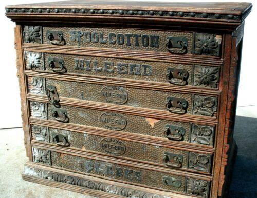 Vintage Clark's Six Drawer Oak Spool Cabinet