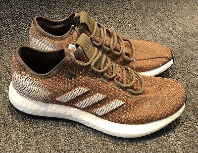 Adidas Pure Boost Running Shoes B37786 Raw Khaki Orange Mens Size 8.5 NWOB