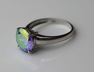 Silber 925 Designer Ring mit farbwechselndem  Stein Vintage 90er