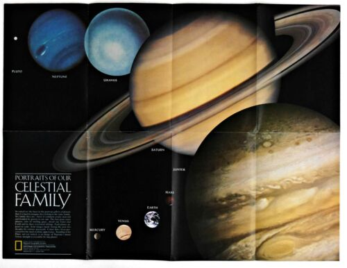 ⫸ 1990-8 August Portraits of Our CELESTIAL FAMILY National Geographic Map