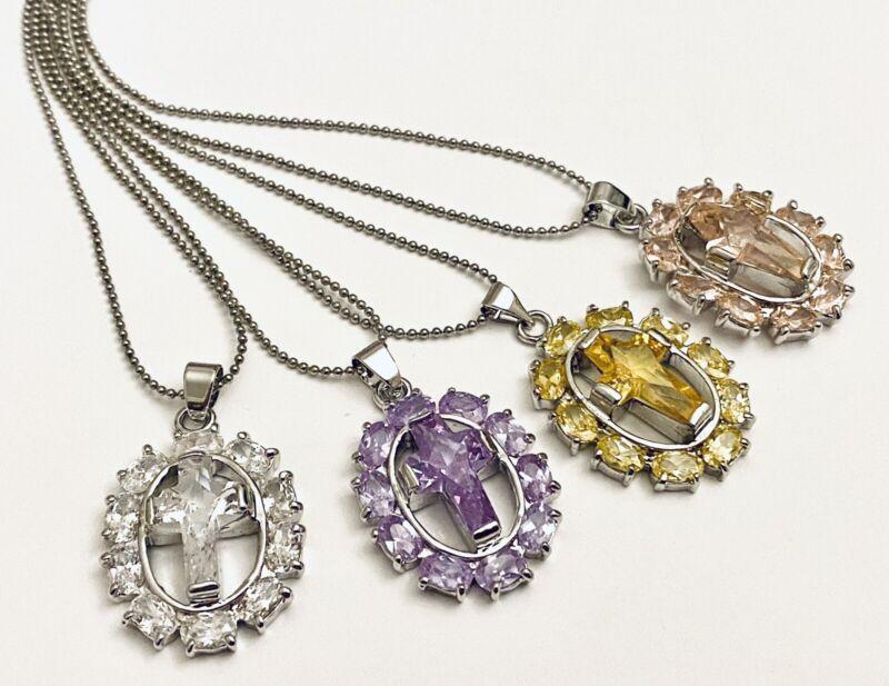 Wholesale Lot  4 Assorted Cross Pendant Fashion Necklaces
