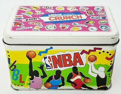 Vintage NBA Nestle Crunch Collectible Tin 1992 Old Logos 6'' x 3.5'' x 3.75''