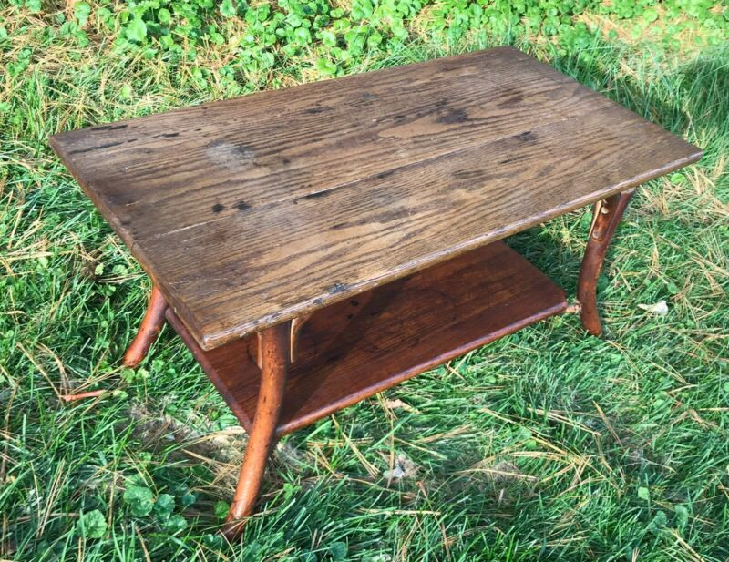 Vintage OLD HICKORY Indiana Oak Coffee Table Rustic Antique Early1900