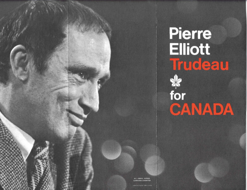Pierre Elliott Trudeau for Canada 1968 Leaflet Bill Vander Zalm Liberal Party BC