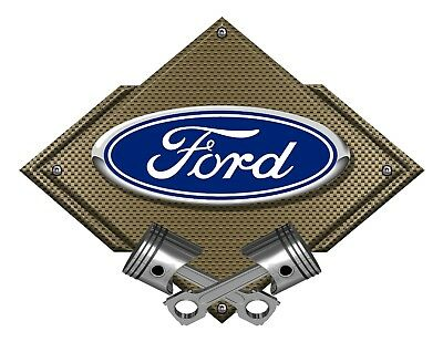 12' Oval Metal Diamond - Ford Blue Oval Bronze Carbon Diamond Metal Art Wall Sign - Ford Licensed