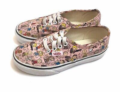 Girls Vans Peanuts Shoes Toddler Size 12 Pink Lace Up Canvas Shoes EUC
