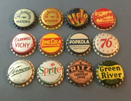 12 Vintage cork lined soda bottle caps Necto, Sprite, Vernors, Richardson Waters