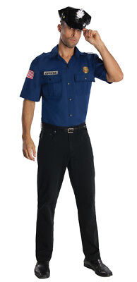 Men's Police Officer Costume Kit Includes Cop Hat and Shirt Adult Standard Size