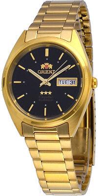 Orient FAB00002B Men's 3 Star Standard Gold Tone Black Dial Automatic Watch
